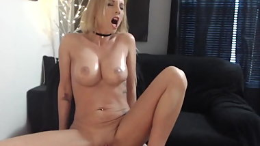 Horny Busty Blonde Babe Toying Her Wet Pussy