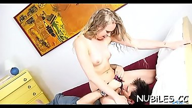 Girl begins bouncing on penis of boy getting tons of delight