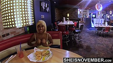 4k Msnovember Flashing Her Titties, Eating Food, And Talking About A Scary Movie With Her Boyfriend To Avoid Him Talking About Her Cheating, Pulling Out Huge Natural Boobs With Black Nipples And Round Areolas Hd Sheisnovember