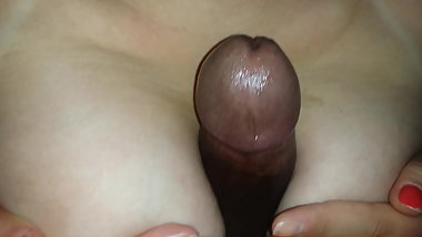 Tittyfucking my wife's sweet breasts with my big black cock