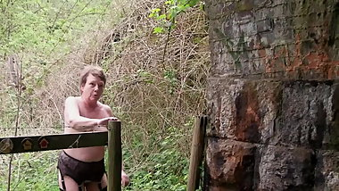 Slut Walk in the Countryside in Stockings Suspenders & Boots