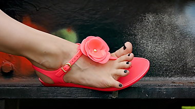 Feet 043 - Black Pedicured Toes Exposed Wearing Pink Sandals