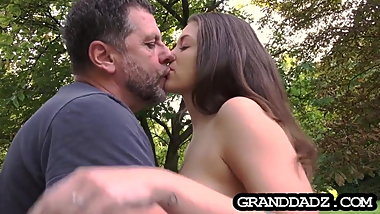 Obedient maid is treated like a slave before fucking old guy
