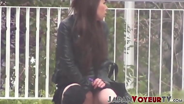 Japanese amateur playing with her pussy at a public place