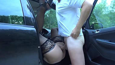 Dogging wife fucked by many strangers in her car
