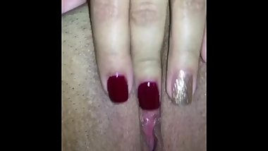 Fingering my self for you with my fresh manicure.