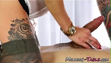 Slutty masseuse gets cum
