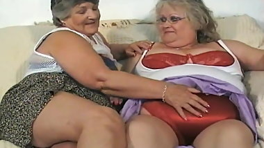 Old fat slut with girlfriend caress and fuck each other
