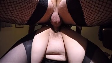 Real homemade British mature in stockings bareback doggy style