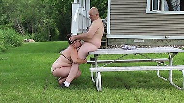 Picnic Table Blowjob - Husband Gives Wife Massive Facial - Outdoor HD