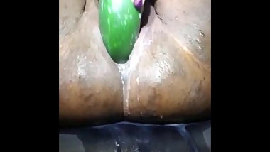 Sexy BBW Fucks Her Pussy With A Cucumber To Squirting Orgasm