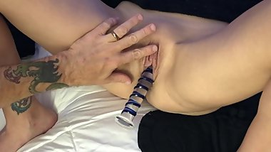 Using different toys on my Cougar Wife until her Pussy is dripping with Cum