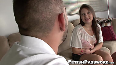 Curvy slut jerking off cock hard with her feet