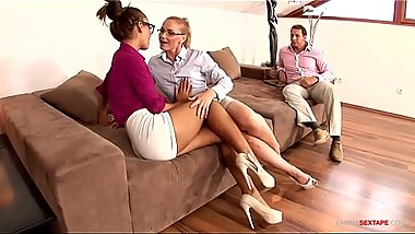 Big tit sisters seduce boss step dad