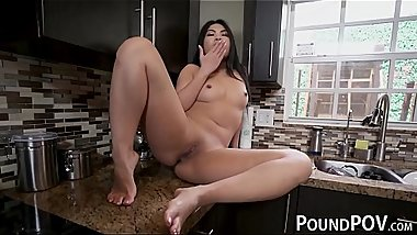 Asian bombshell Cindy Starfall teases before banging POV