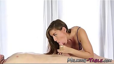 Lingerie masseuse tugging
