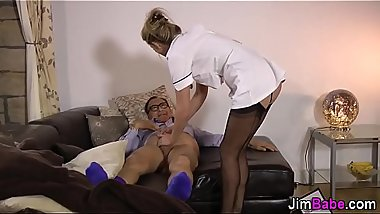 Stockinged nurse strokes