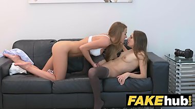 Female Agent Shy maid in stockings cums hard in lesbian casting seduction