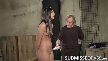 Young submissive electro toyed by mature master