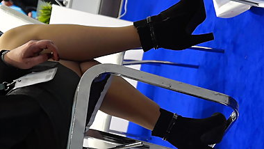 Candid mix of legs in pantyhose