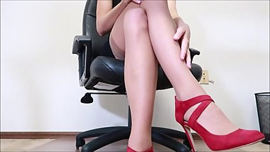 Sexy blonde office upskirt in high heels teasing you with her ass
