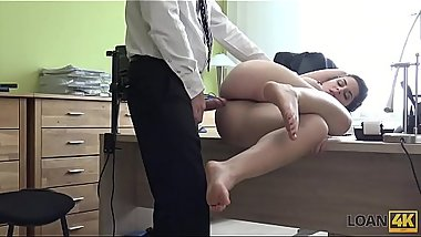 LOAN4K. Modest brunette has dirty sex for cash in the loan agency