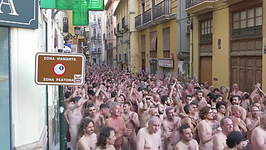 Spanish nudist people at Valencia