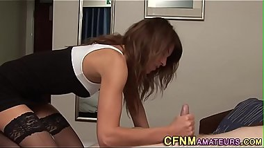 Cfnm stockings brunette