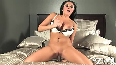 Big Boobs Beauty Audrey Bitoni Bounces On A Big Dildo And Cums Hard In Bed!