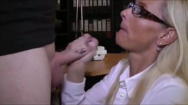 lucky nerd came for an interview to divorced mature milf