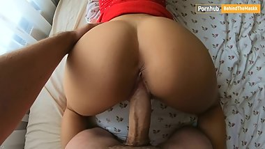 Amateur couple -My wife in bedroom - doggy cum on ass