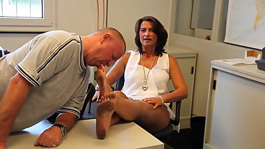 Dirty German feet are worshipped in warehouse