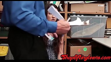 Real shoplifter gets fucked and strokes mall cops cock