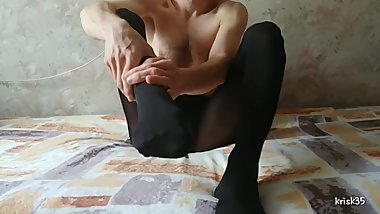 my male feet and legs in black matte tights