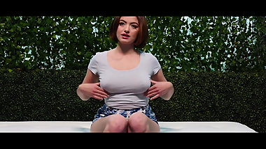 Casting with incredibly busty amateur brunette