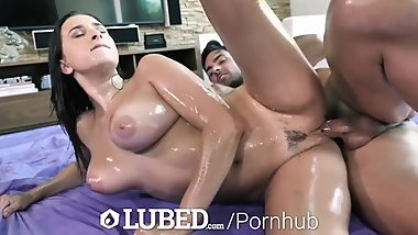 LUBED BIG TIT FUCK with DEEP Creampie Penetration
