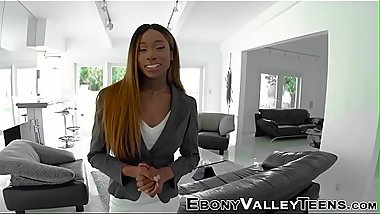 Ebony teen gets pussy plowed in pov