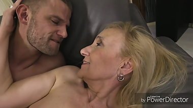 Elderly blonde cock teaser and a handsome guy are about to f