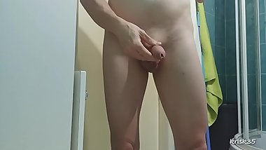 my penis peeing into the toilet 2