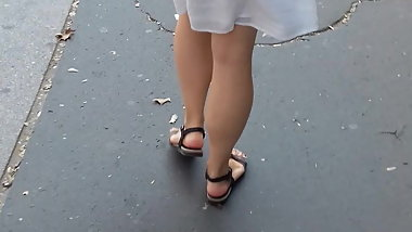 women walking in a white seetrough dress black thong PART2