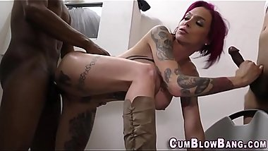 Tattooed slut riding bbc