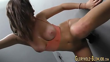 Slut gets gloryhole cream