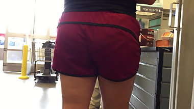 Pawg Milf Nice VPL Hips and Ass in Gym Shorts